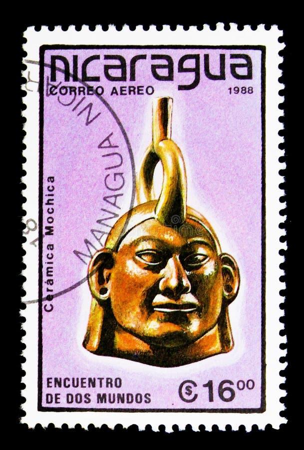 MOSCÚ, RUSIA - 25 DE NOVIEMBRE DE 2017: Un sello impreso en Nicaragua imagen de archivo