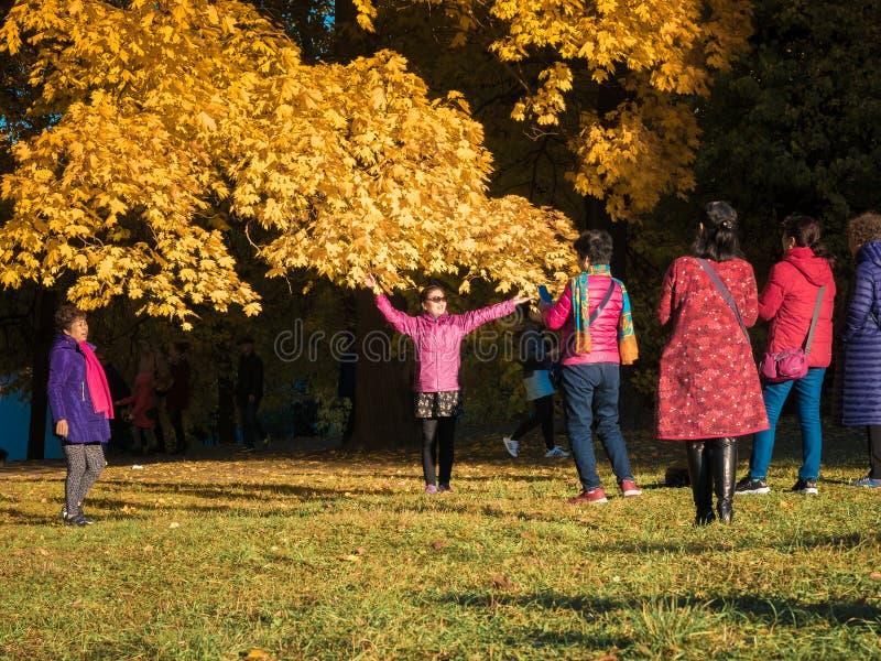 Moscú, Rusia - 11 de octubre de 2018: Los turistas chinos caminan el parque del otoño La gente asiática toma imágenes en el fondo imagen de archivo