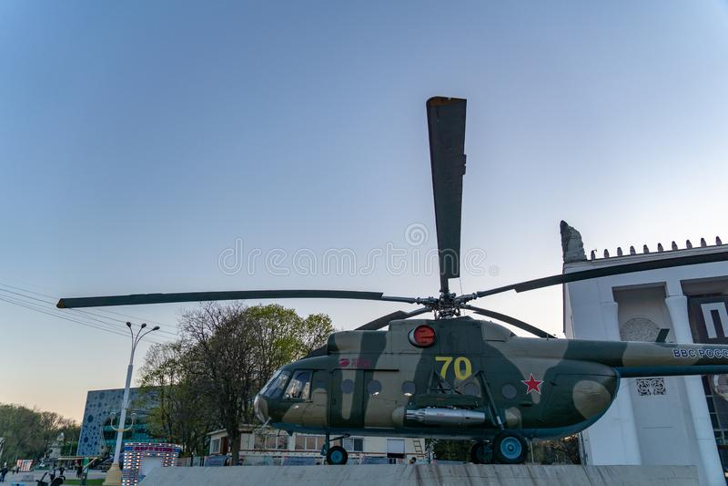 Moscú, Rusia, el 30 de abril de 2019: Helicóptero MI-8, fuerza aérea rusa en el territorio de VDNH foto de archivo libre de regalías