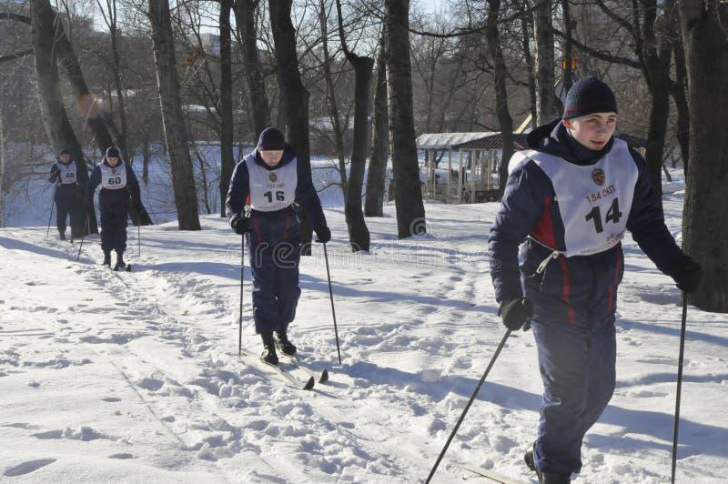 Moscú, Rusia, el 2 de enero de 2019, deportes y acontecimientos totales en 154 por separado el comandante Preobrazhensky Regiment fotografía de archivo