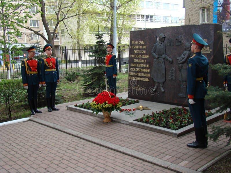 Moscú, Rusia, el 9 de mayo de 2018, honrando la gran guerra patriótica de los soldados del regimiento de la transfiguración y de  imágenes de archivo libres de regalías