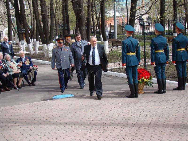 Moscú, Rusia, el 9 de mayo de 2018, honrando la gran guerra patriótica de los soldados del regimiento de la transfiguración y de  imagen de archivo libre de regalías