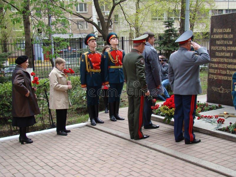 Moscú, Rusia, el 9 de mayo de 2018, honrando la gran guerra patriótica de los soldados del regimiento de la transfiguración y de  fotos de archivo