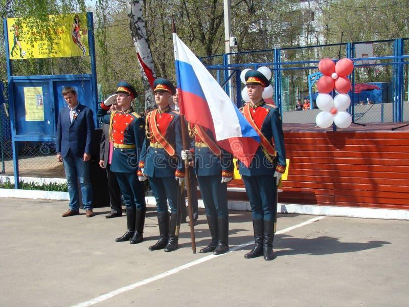 Moscú, Rusia, el 9 de mayo de 2018, honrando la gran guerra patriótica de los soldados del regimiento de la transfiguración y de  imagen de archivo