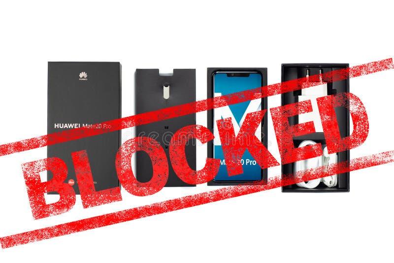 MOSC?, FEDERACI?N RUSA - 24 de mayo de 2019: Despu?s de la administraci?n del triunfo a?ada Huawei a una lista negra comercial, G fotografía de archivo