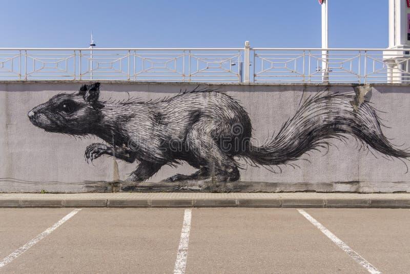 Mosc?, Rusia, el 29 de abril de 2019 Pintada en el estacionamiento Rata grande Ca?do del yeso imagenes de archivo