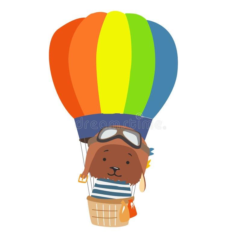 Mosca animal de la historieta en globo del aire caliente Imagen para la ropa de los niños, postales ilustración del vector