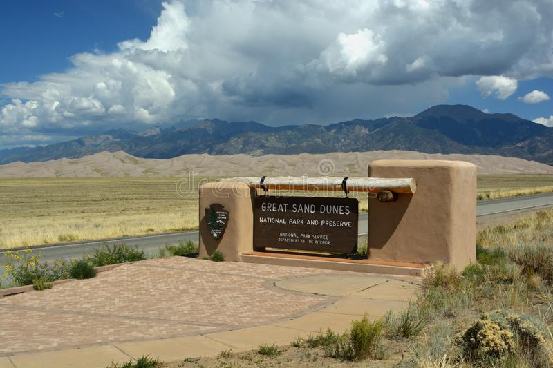 MOSCA, CO, USA - August 31, 2019: Great Sand Dunes National Park and Preserve in Colorado is the site of the largest sand dunes in stock image
