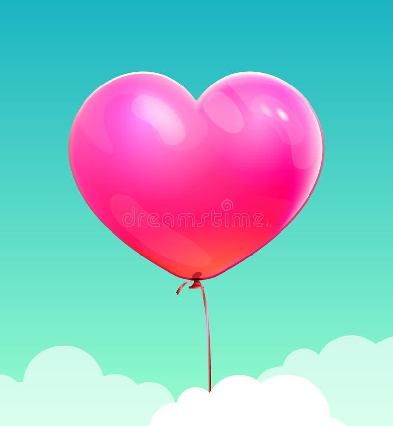 Mosca cor-de-rosa do balão da forma do coração no céu azul Vetor ilustração stock