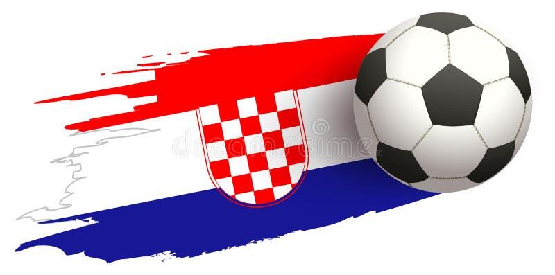 Mosca da bola de futebol no fundo da bandeira croata ilustração do vetor