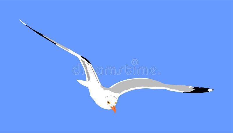 Mosca da gaivota no p?ssaro da ilustra??o, do mar ou do oceano do vetor do fundo do c?u azul com asas espalhadas Símbolo da silhu ilustração stock