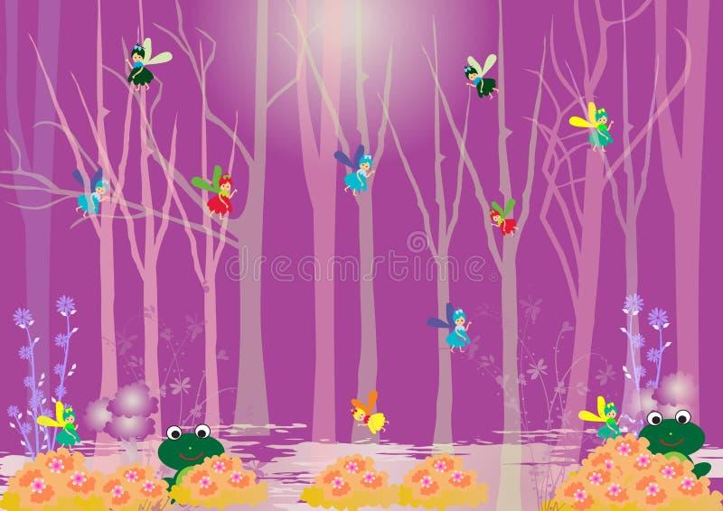 Mosca de hadas del pequeño bebé en el bosque ilustración del vector