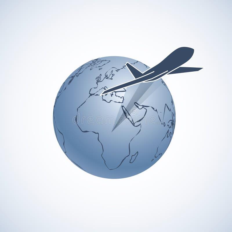 Mosca del aeroplano alrededor de la tierra del planeta stock de ilustración