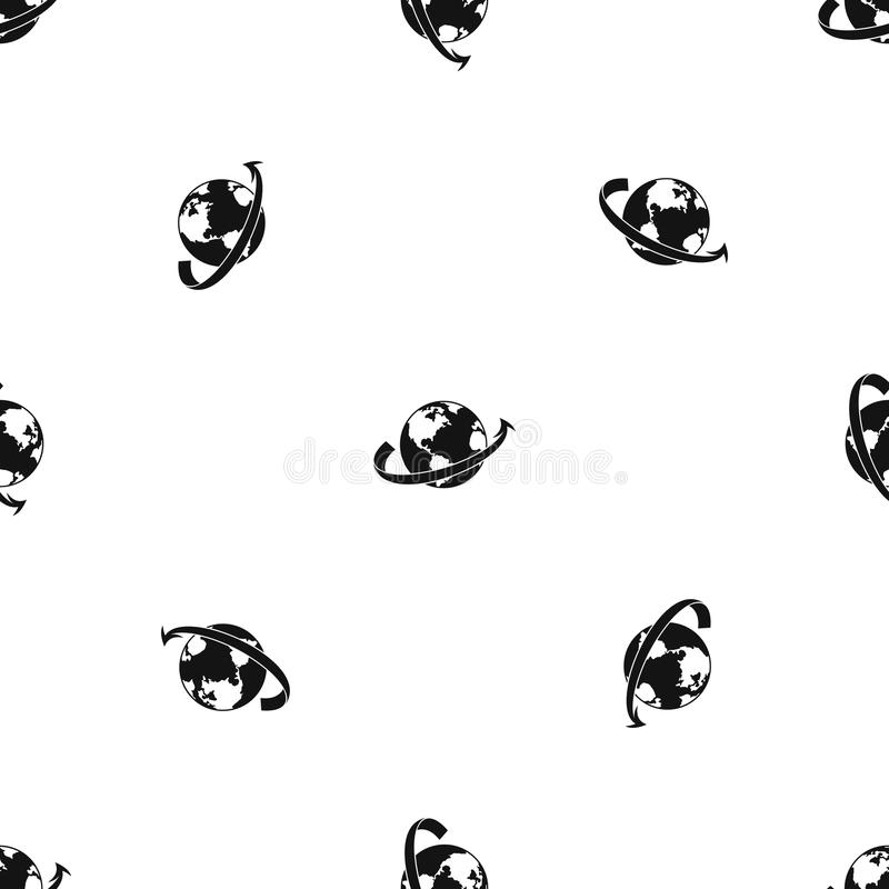 Mosca del aeroplano alrededor del negro inconsútil del modelo del planeta libre illustration