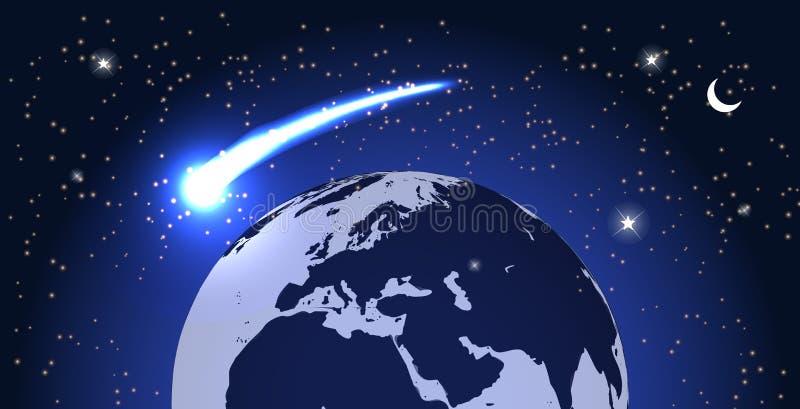 Mosca del cometa alrededor del planeta en espacio Vector ilustración del vector