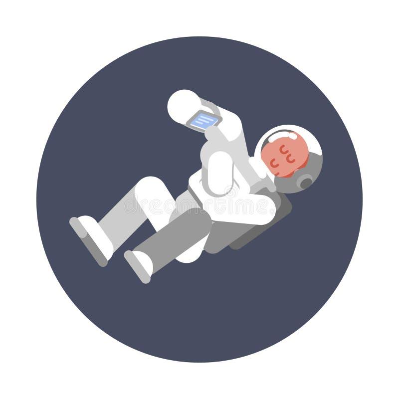 Mosca del cosmonauta del hombre en la gravitación cero stock de ilustración