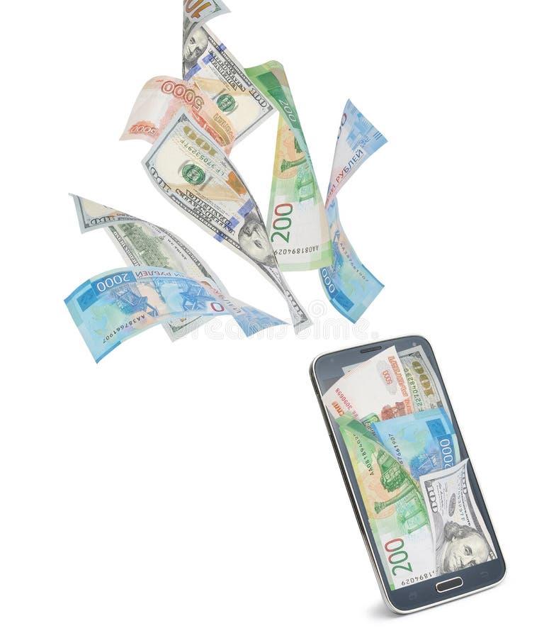 Mosca del dinero fuera del smartphone imagen de archivo