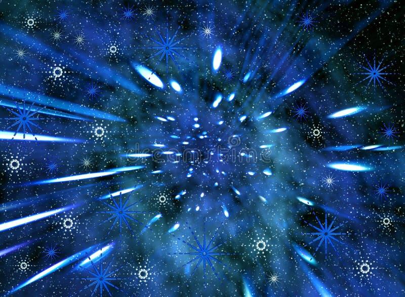 Mosca del espacio. Copos de nieve ilustración del vector