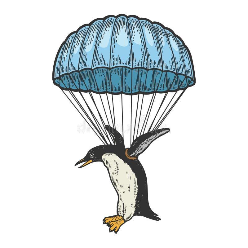 Mosca del pájaro del pingüino en vector del bosquejo del color del paracaídas libre illustration