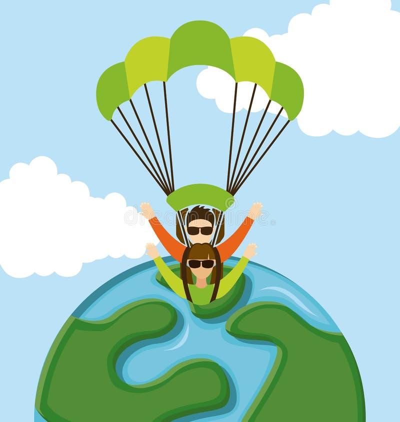Mosca del paracadute illustrazione vettoriale