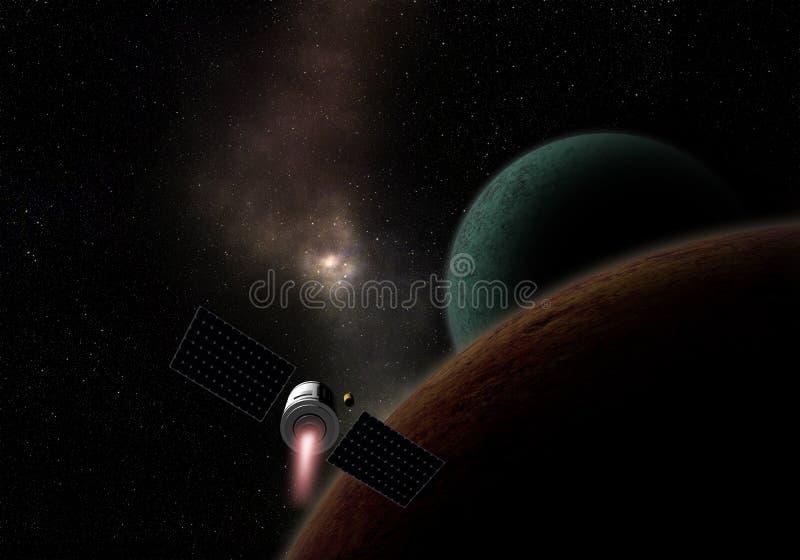 Mosca del veicolo spaziale al pianeta sconosciuto Esplorazione spaziale illustrazione di stock