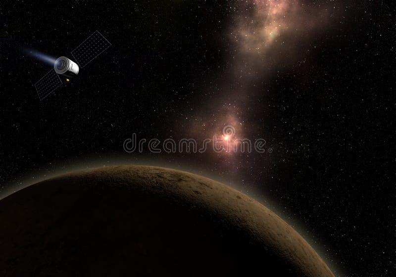 Mosca del veicolo spaziale al pianeta sconosciuto Esplorazione spaziale illustr 3d illustrazione di stock