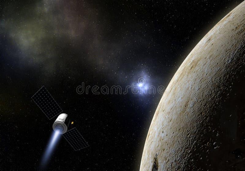 Mosca del veicolo spaziale al pianeta sconosciuto Esplorazione spaziale illustr 3d illustrazione vettoriale