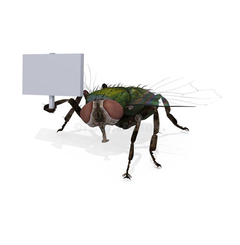 mosca della Camera 3d che tiene segno in bianco illustrazione di stock