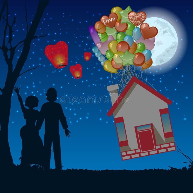 Mosca della casa di notte delle coppie l 39 illustrazione dei for Sito web di progettazione della casa