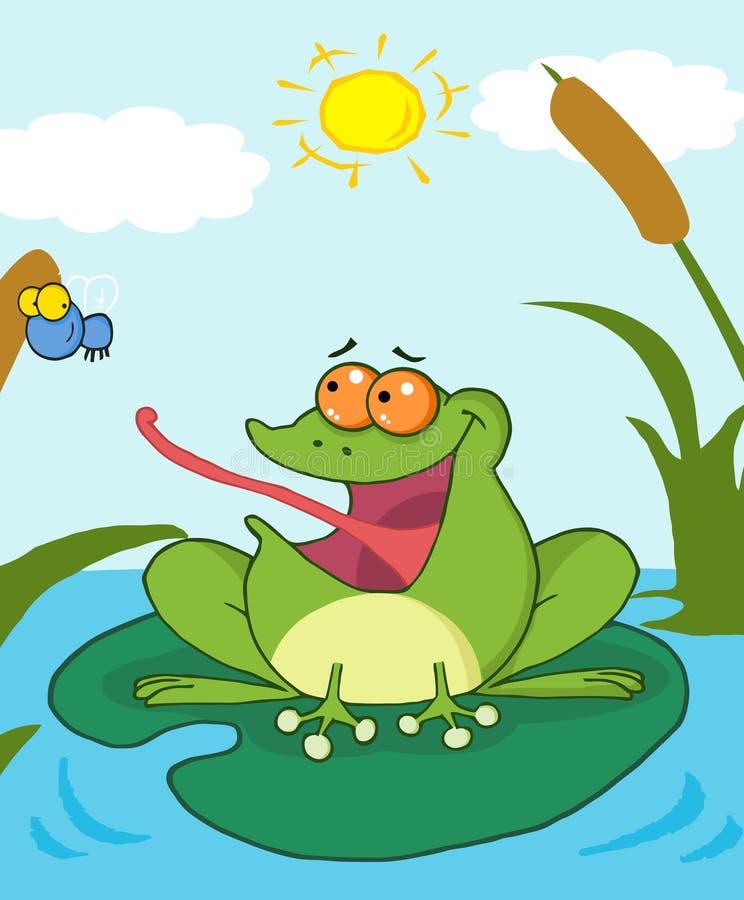 Mosca di cattura della rana illustrazione vettoriale
