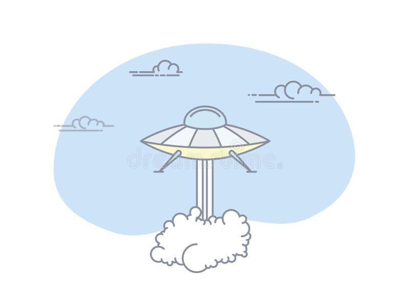 Mosca do começo do objeto de voo não identificado com as nuvens de fumo densas ilustração stock