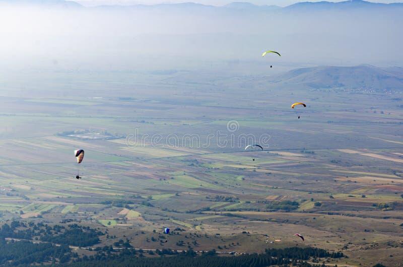 Mosca do grupo dos Paragliders sobre o vale na competição de esporte fotos de stock royalty free