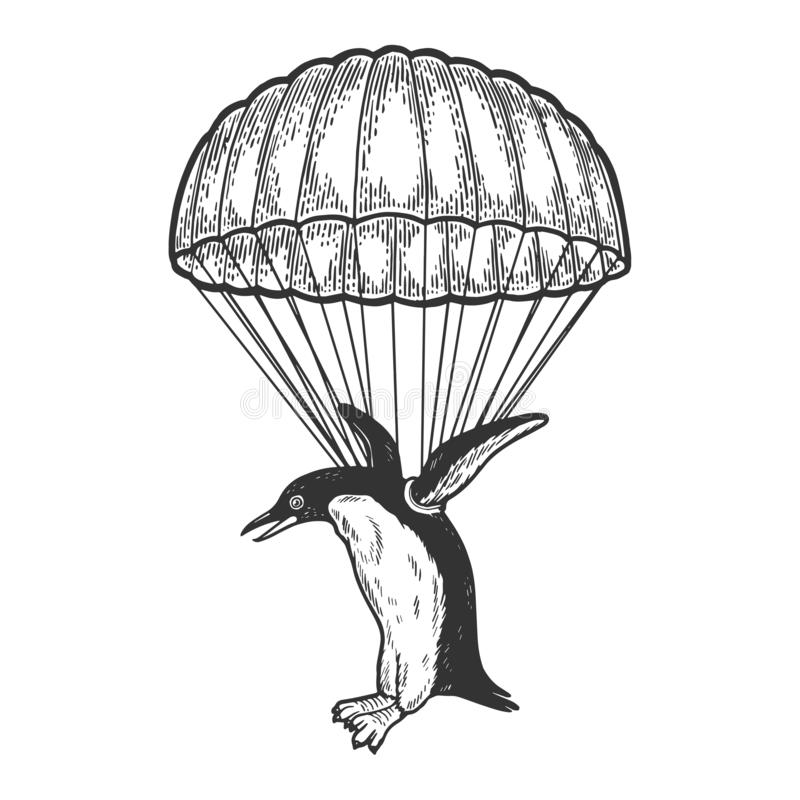 Mosca do pássaro do pinguim com vetor do esboço do paraquedas ilustração do vetor
