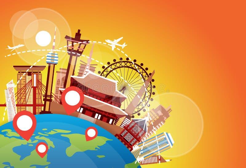 Mosca do plano dos marcos de Coreia do Sul sobre construções coreanas famosas férias e conceito do destino do curso ilustração do vetor