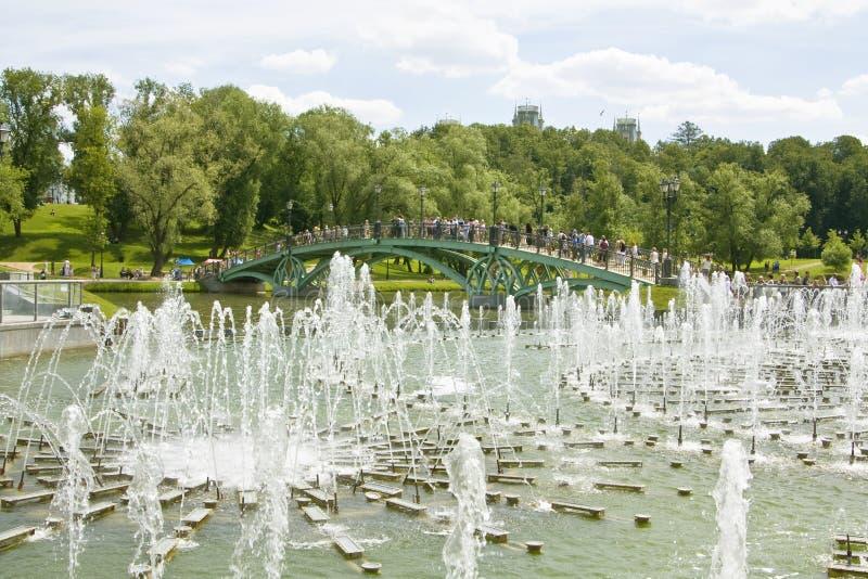 Mosca, fontane in Tsaritsino fotografia stock libera da diritti