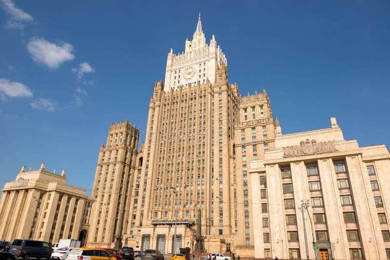 Mosca, grattacielo del ministero degli affari esteri della Russia Quadrato di Smolenskaya-Sennaya, 32/34 fotografia stock