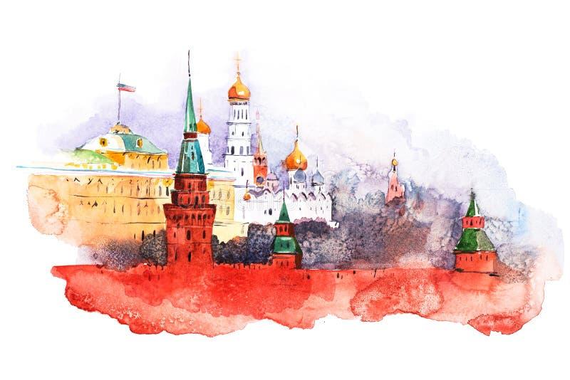 Mosca Kremlin Pitture dell'acquerello del quadrato rosso della Russia illustrazione vettoriale