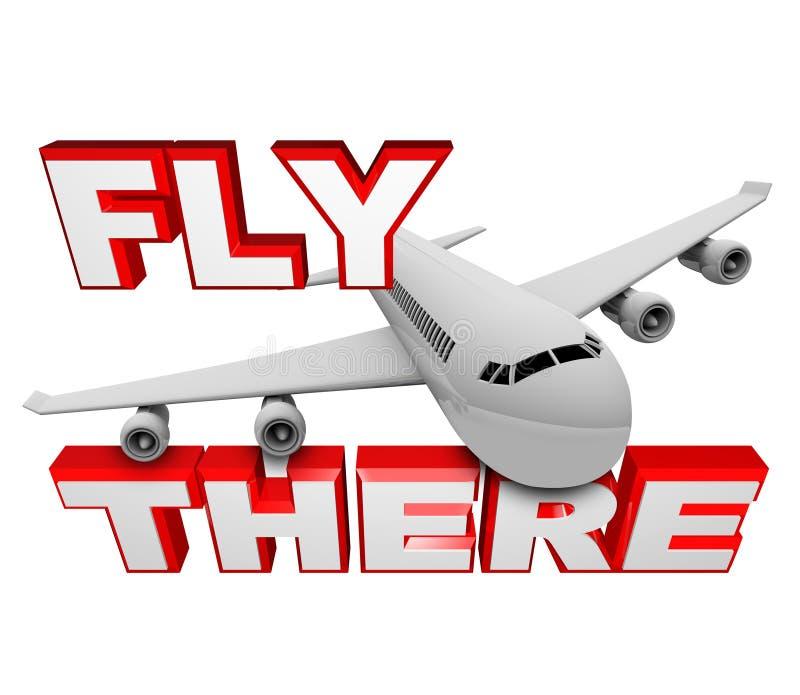 Mosca lá - palavras do avião e do curso do jato ilustração stock