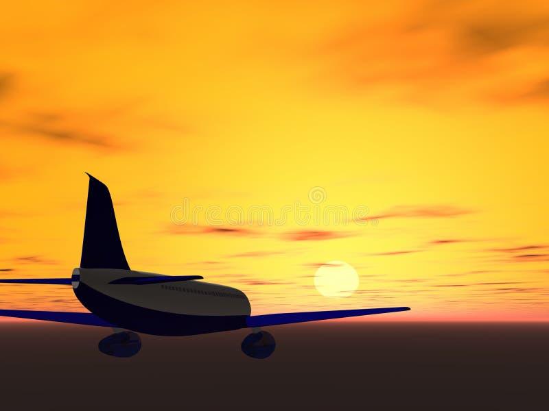 Mosca a la puesta del sol imagen de archivo