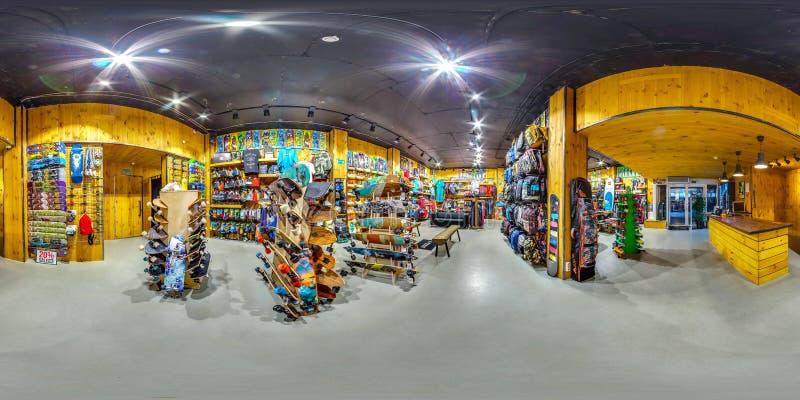 MOSCA LA RUSSIA merci del negozio dell'11 novembre 2016 per gli sport attivi ed estremi 3D panorama sferico, angolo di visione 36 fotografia stock