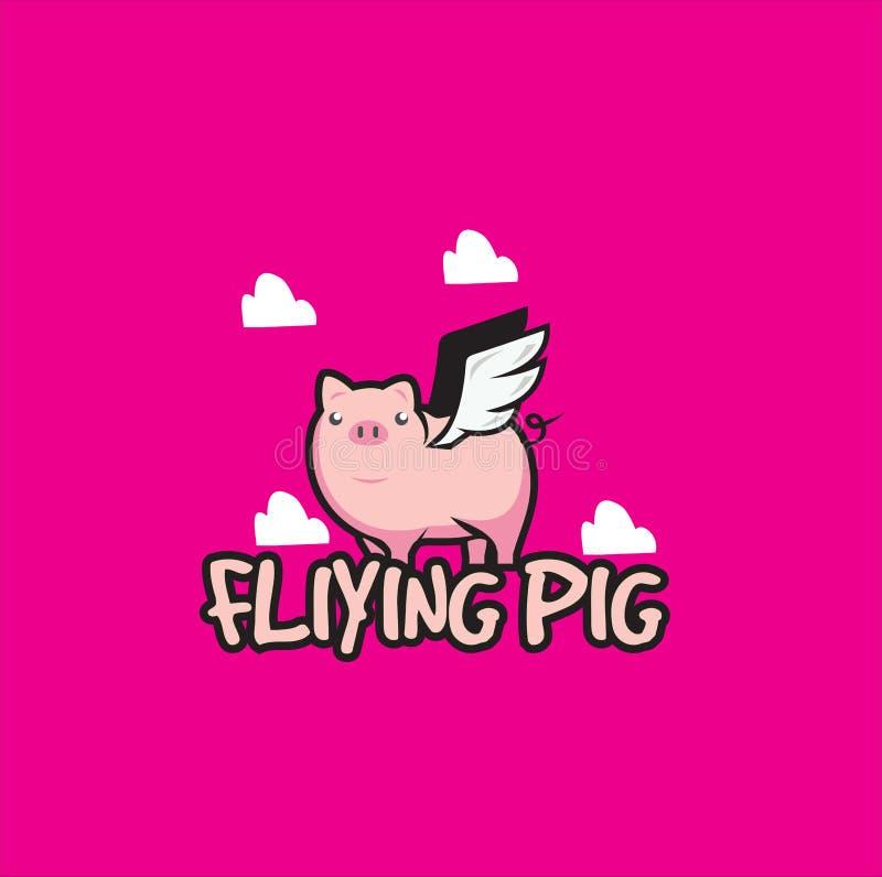 A mosca Logo Design/porcos do porco joga com as asas na ilustração do céu/desenhos animados bonitos do porco para o logotipo/voo  ilustração stock