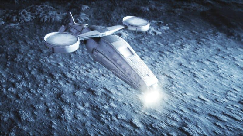 Mosca militar del vehículo espacial en la luna Colonia de la luna Backround de la tierra representación 3d stock de ilustración