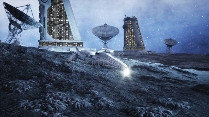 Mosca militar del vehículo espacial en la luna Colonia de la luna Backround de la tierra representación 3d libre illustration