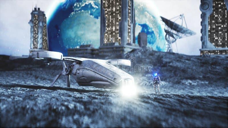 Mosca militar del vehículo espacial en la luna Colonia de la luna Backround de la tierra representación 3d ilustración del vector