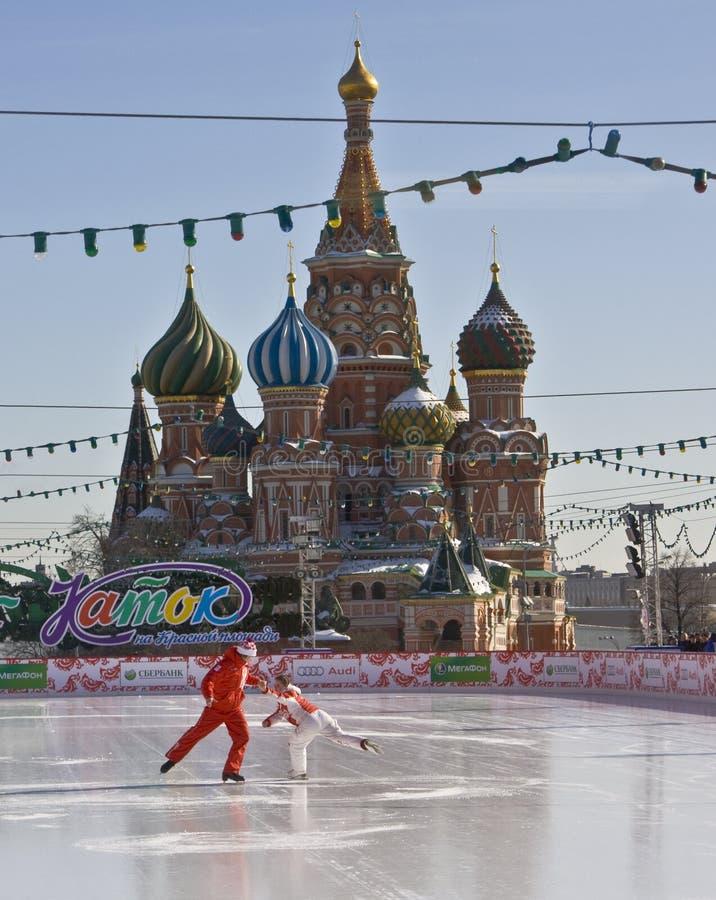Mosca, quadrato rosso e cattedrale del basilico della st fotografie stock libere da diritti
