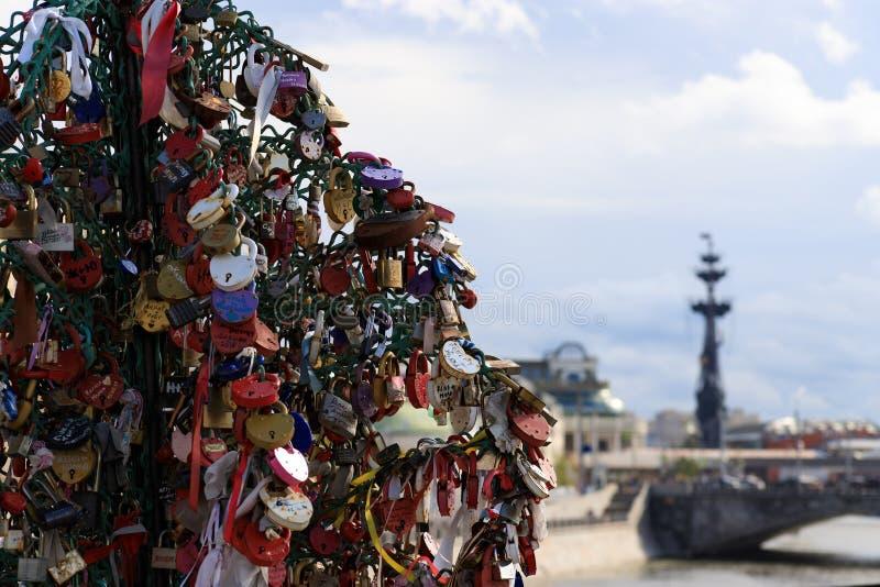 Mosca, Russia - 6 agosto 2019: Alberi del metallo con i lucchetti di nozze sul ponte di Luzhkov a Mosca immagini stock