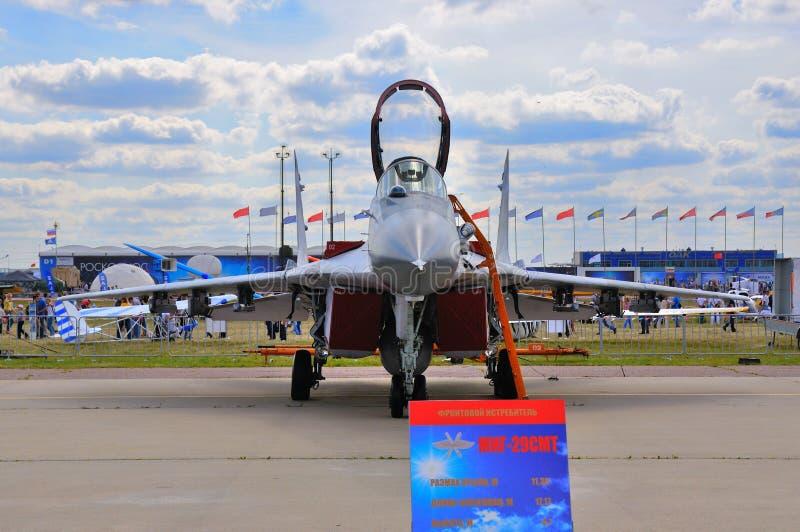 MOSCA, RUSSIA - AGOSTO 2015: fulcro dell'aereo da caccia MiG-29 prese immagine stock