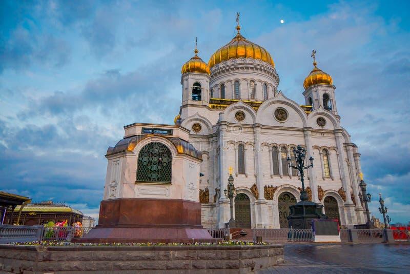 MOSCA, RUSSIA 24 APRILE, 2018: Bella vista all'aperto della facciata della chiesa della cattedrale del salvatore della resurrezio immagine stock libera da diritti