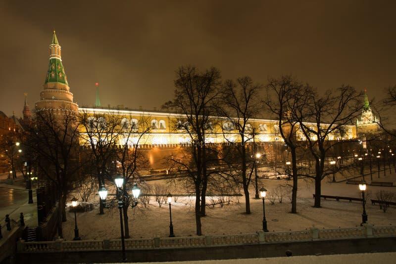 Mosca, Russia Bella vista dal quadrato di Manezh su Mosca Krem fotografie stock libere da diritti