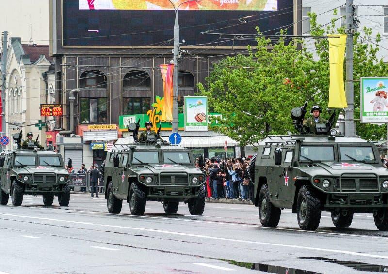 05 09 2012, Mosca, Russia Celebrazione del giorno del ` s di vittoria Parata di attrezzatura speciale fotografia stock